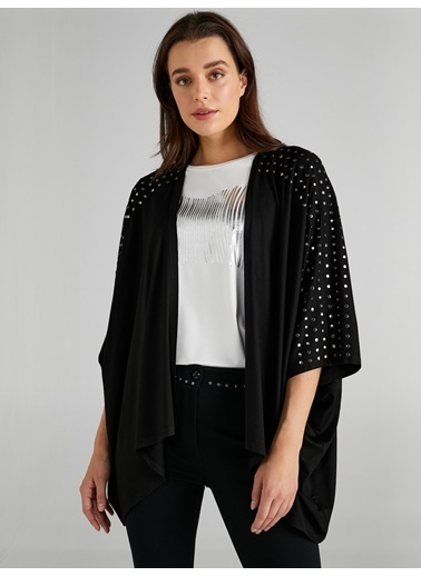 Faik Sönmez  Trok Detaylı Kimono Hırka 61495 Siyah